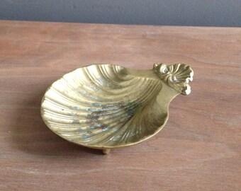 Vintage brass seashell catch-all