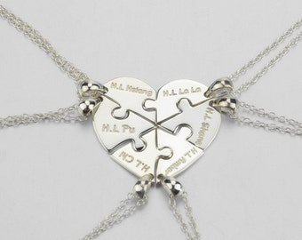Heart Puzzle Necklace,Family Necklace,6 pieces puzzle Necklace,Heart Shape Necklace,Name Necklace,Engraved Necklace, Wedding Gift N019