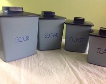 Vintage 1970's blue canister set