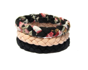 Three Braided Fabric Bracelets in Black, Pink and Floral Print, Cotton Tshirt Yarn, Everyday Bracelets, Urban Style, Friendship Bracelets