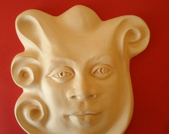"""Pottery mask. Face wall sculpture. Ceramic face mask. Wall art. Decorative mask. Garden sculpture. """"The good welcoming spirit of your home""""."""