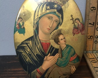 Vintage Oval Tin Litho Icon Virgin Mary and Child