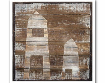 Rustic Modern Art Print-Swiss Wood Shed #4 on Reclaimed Wood-Giclee-Archival Print by Heather Roth
