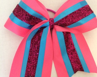 Pink and Blue Cheer Bow