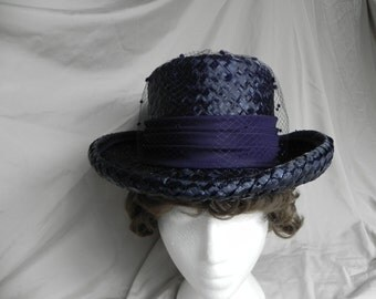 1970's or 1980's Navy Blue Cello Weave Fedora Style Dress Church Hat by Michelle