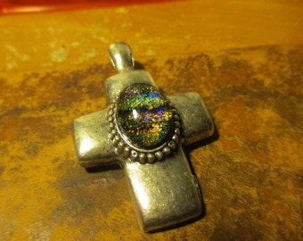 Silver Tone Cross With Dichroic Gem Centerpiece (E289)