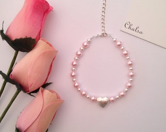 Pink and white crystal pearl bracelet with silver heart, flower girl bracelet, pearl heart bracelet, pink heart bracelet, Spring wedding