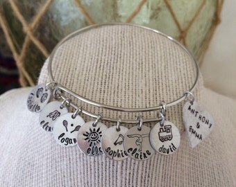 Mothers Day, Mom, Grandmom, Family Handstamped, Personalized Stainless Steel Bangle
