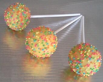 Yellow Cake Pops with Sprinkles, 1 Dozen