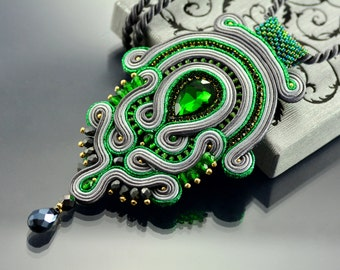 Soutache Pendant, Green Pendant, Green and Graphite Pendant, Green and Gray Necklace, Green Soutache Pendant, Gray Soutache Pendant. OOAK