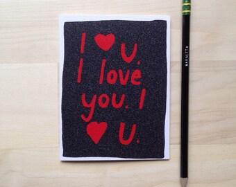 I <3 U. I love you. I  heart U. card