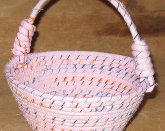 Pink Small Basket, Girl Nursery Decor, Country Cottage Chic, Rag Rope Wrapped Decoration, Fabric Coiled Bowl, Cloth Handle, Baby Shower