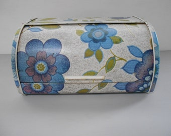 Retro Floral Bread Box Purple & Blue 1970's