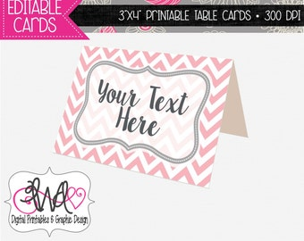 EDITABLE INSTANT DOWNLOAD: Grey and Pink Chevron Table Toppers, Tent Cards, Place Cards, Buffet Cards
