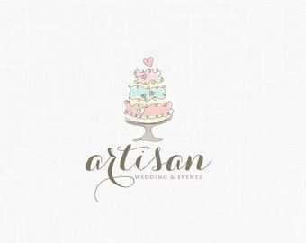 Cake Logo Design Psd : Wedding cake logo Etsy