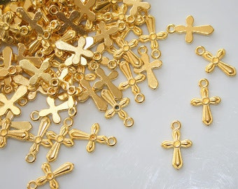 100x gold cross charms,Gold cross pendants,Nickel free!,gold christian jewelry,small gold charms,19.5x12x2mm