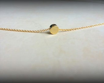 Sale!-Gold Circle Necklace-Silver Circle Necklace-Puffed Round Circle Necklace-Gold Filled Chain-Sterling Silver Chain-Dainty Necklace-Gift