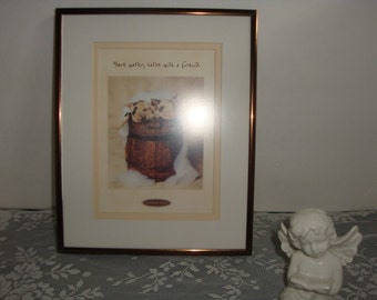 VINTAGE Nielsen frame brown tinted metal frame with bonus matted art print baby pigs