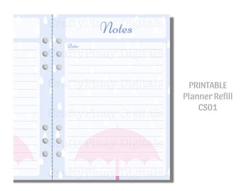 Printable Planner Refill (A5) - Rainy Days [L500-D0005 CS01-05] Instant Download