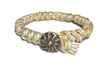 Handmade white & gold shimmer genuine leather Spanish Knot bracelet with Old World Bronze clasp