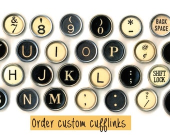 Custom typewriter jewlery cufflinks for men and women!  Choose your vintage typewriter keys.  NO GLUE.