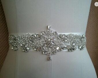 Rhinestones and pearls sash, bridal sash, wedding dress sash