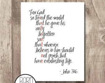 Printable Bible Verse Valentine John 3:16
