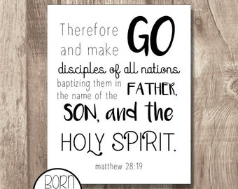 Printable Bible Verse Matthew 28:19