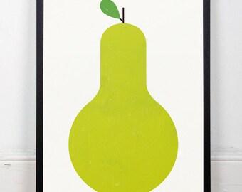 Kitchen art, Poster kitchen, Pear print, Green art print, Modern prints, Mid century modern, Minimalist, Geometric poster, Nursery print