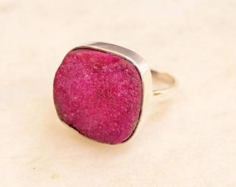 Druzy Ring, Stone Ring, Sterling Silver ring,  Pink Druzy Stone ring, 925 sterling silver ring, Druzy Jewellry, Druzy Silver ring, Druzy