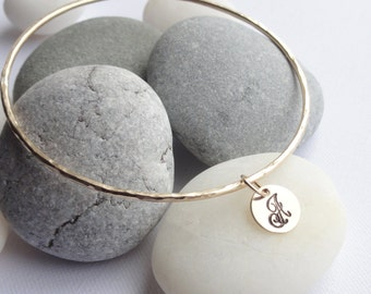 14K Gold Filled Skinny Bangle with Initial Disc
