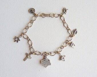 SALE Vintage Multi Charm Silver Bracelet Pewter Bracelet,Dangle Bracelet Religious Chain Bracelet, Vintage Jewelry,Charm Bracelet, Reduced