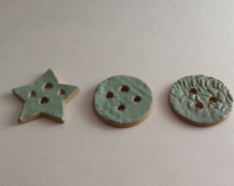 Ceramic hand made buttons for knits