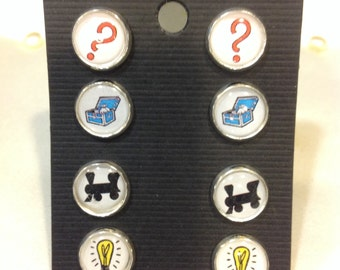 Set of 4 Monopoly themed stud earrings