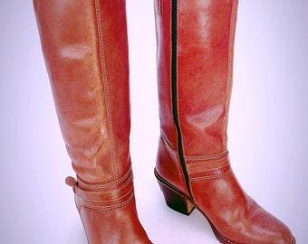 Women's Regency Tall Red Brick Brown Leather Zipper Side Western Fashion Boots Sz. 7 B