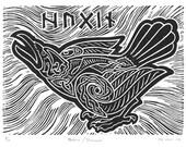 Hugin/Thought, Norse Mythology Linocut