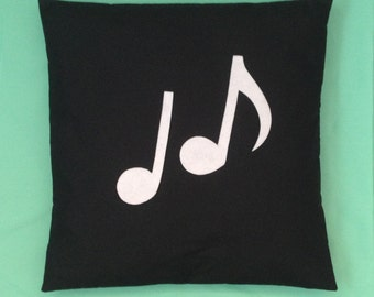 Orchestra - Music Note Novelty Black White Retro Modern Unique Cushion Pillow Cover Felt Applique 14 16 18 20 22 inch size