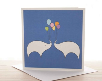 Greetings card - 'Balloons! Celebrating Elephants' card