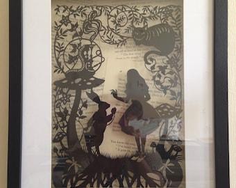 Large paper cut, Alice In Wonderland, box framed