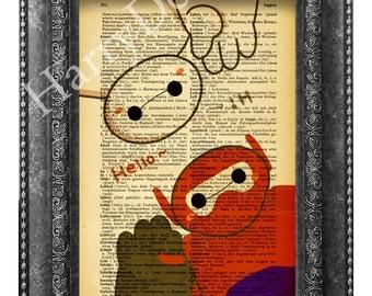 Big Hero 6 Baymax Poster Print, book print,  Art Print, Vintage Dictionary page print, wall decor, dictionary art, Art Print, Wall Hanging