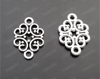 50pcs 20x13mm antique silver flower pendants connector M29647