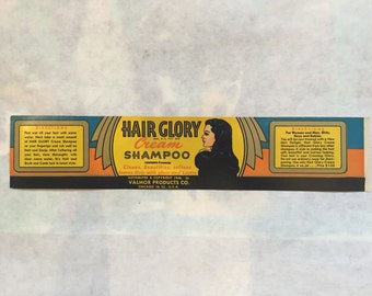Vintage VALMOR Label Hair Glory Cream Shampoo Black Americana Advertising Beauty 1930s