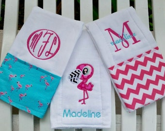 Holy Pink Flamingo!  Custom Monogram Set of 3 So Cute Pink Flamingo Burp Cloths!