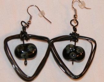 Black lampwork triangle earrings