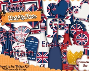 British Clipart, British Scrap Kit, Digital Scrapbooking, UK Clipart, England, British Scrap Kit, CU4CU