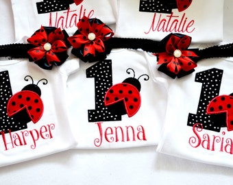 Ladybug birthday shirt top onesie bodysuit,1st ladybug birthday onesie,black and red polka dot birthday onesie,First Ladybug onesie/shirt