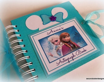 PERSONALIZED Disney Princess Inspired Autograph Book Scrapbook Travel Journal Vacation Photo Album teal glitter 885