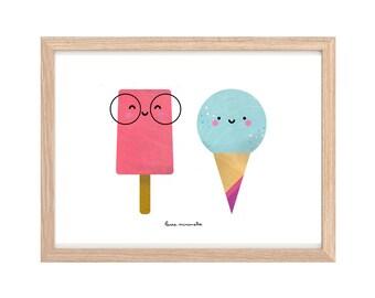 Happy Ice Creams Printable Digital Art | Nursery Art | Kids Room Wall Decor |