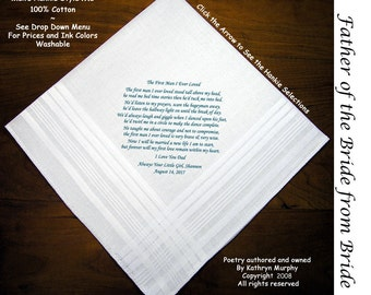 Father of the Bride Gift Wedding Hankie  0208  Sign & Date for Free!  8 Ink Colors. FOB Hankerchiefs.
