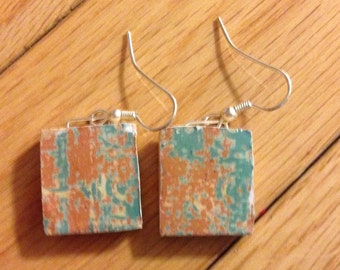 Turquois and Orange Scrabble Tile Earrings